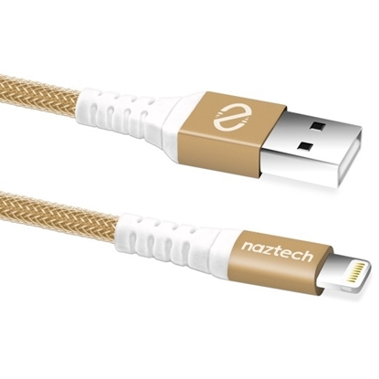 Picture of Naztech , MFi Lightning Braided Charge & Sync Cable 4ft - Gold