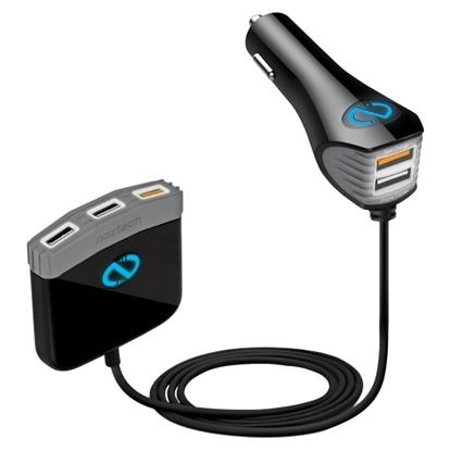 الصورة: نازتيك ، شاحن سيارة سريع مع 5 مداخل USB - أسود