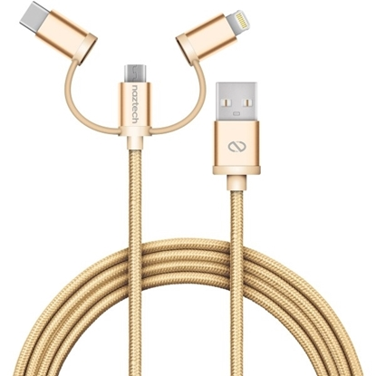 Picture of Naztech , MFi Lightning Braided 3-in-1 ( Micro , USB Type-C , Lightning )  Hybrid USB Cable - Gold