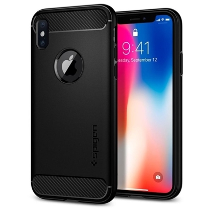 Picture of Spigen , Rugged Armor Case with Resilient Shock Absorption and Carbon Fiber Design for Apple iPhone X - Matte Black