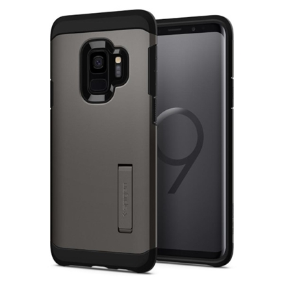 Picture of Spigen , Tough Armor Case with Kickstand and Heavy Duty Protection for Samsung Galaxy S9 - Gunmetal