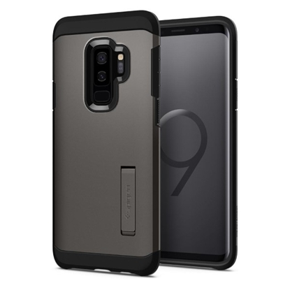 Picture of Spigen , Tough Armor Case with Kickstand and Heavy Duty Protection for Samsung Galaxy S9 Plus - Gunmetal