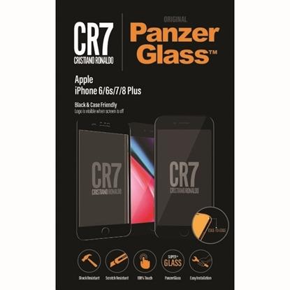 الصورة: بانزر جلاس ، حماية شاشة  زجاجية ، ميزة ظهور علامة CR7 عند إطفاء الشاشة  لأجهزة أبل آيفون 6,6S,7,8 بلس - اسود