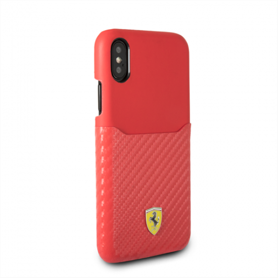 Picture of Ferrari Case Leather with PU Carbon Fiber Card Slot for Apple iPhone X - Red