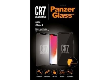 الصورة: بانزر جلاس ، حماية شاشة  زجاجية ، ميزة ظهور علامة CR7 عند إطفاء الشاشة  لأجهزة أبل آيفون X - شفاف