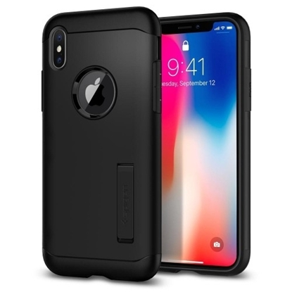Picture of Spigen Case Slim Armor With Stand for iPhone X - Black
