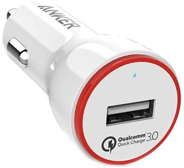 Picture of Anker , PowerDrive+ , 1 Port 24W Car Charger QC3.0 With 3ft Micro Cable - White