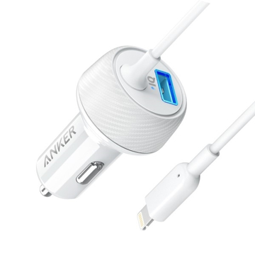 Picture of Anker PowerDrive Elite , 2 Ports Car Charger with Lightning Connector UN - White