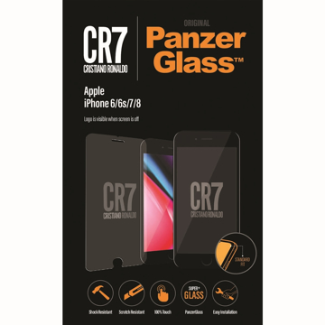 الصورة: بانزر جلاس ، حماية شاشة  زجاجية ، ميزة ظهور علامة CR7 عند إطفاء الشاشة  لأجهزة أبل آيفون 6/6s/ 7/ 8 - شفاف