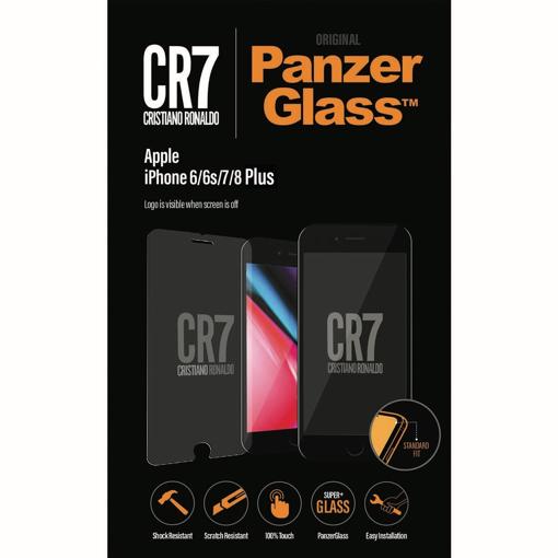 صورة بانزر جلاس ، حماية شاشة  زجاجية ، ميزة ظهور علامة CR7 عند إطفاء الشاشة  لأجهزة أبل آيفون 6/6s/7/8 بلس - شفاف