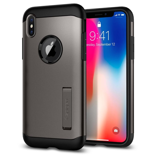 new product bdeed 552c2 Spigen Case Slim Armor with Stand for iPhone X - Gunmetal