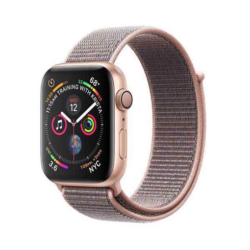 صورة أبل ، ساعة ذكية الاصدار الرابع هيكل الامنيوم بحجم 44 ملم مع سوار رياضي وردي - ذهبي