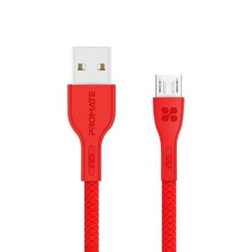 الصورة: بروميت كابل مقوى سريع USB-A الى Micro-USB بطول 1.2 متر - أحمر