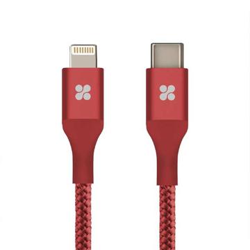 الصورة: بروميت كابل مقوى TYPE-C الى Lightning يدعم الشحن السريع PD لاجهزة ابل بطول 1.2 متر - احمر