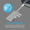 صورة بروميت موزع USB-C سريع يدعم ثلاثة مخارج USB3.1  ومنفذ ذاكرة - فضي