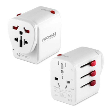Picture of Promate Travel Adapter With 30W QC3.0 Fast Charge USB And PD 18W - White