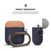 Picture of Elago Duo Hang Silicon Case For AirPods - Body-Jean indigo / Top-Peach, Grey