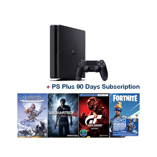 Picture of Sony Playstation PS4 500GB Controllers : 1 + 4 Games ( Horizon + Grand Torism + Uncharted4 + Frontier Voucher ) +1 (PS Plus 90 Days Subscription)