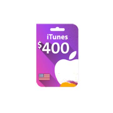 الصورة: بطاقة ايتونز 400 دولار (المتجر الأمريكي)
