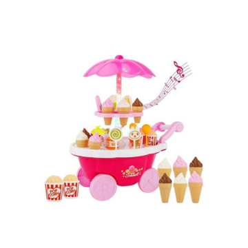 Picture of Girl Candy Cart Ice Cream Shop Supermarket Trolley Kids Toys With Light Music